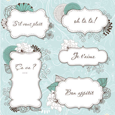 greeting card invitation wallpaper: Floral Vintage Frames in french style