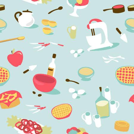 utencilios de cocina: Retro patrón de la cocina sin problemas. ilustración vectorial