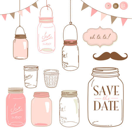 Glass Jars, frames and cute seamless backgrounds. Ideal for wedding invitations and Save the Date invitations  Vector