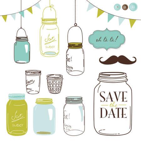 dżem: Słoiki szklane, ramki i uroczy bez szwu tła. Idealny do zaproszeń ślubnych i Save Data zaproszenia