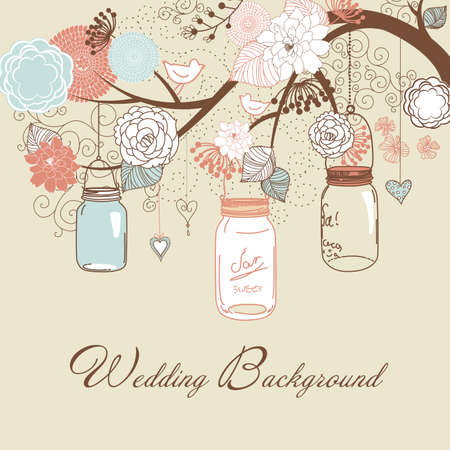 loral summer background. Glass jars hanging from the brunch  Vector