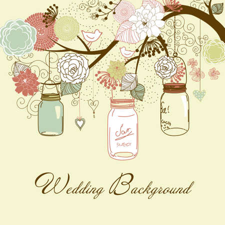Floral summer background. Glass jars hanging from the brunch Vector