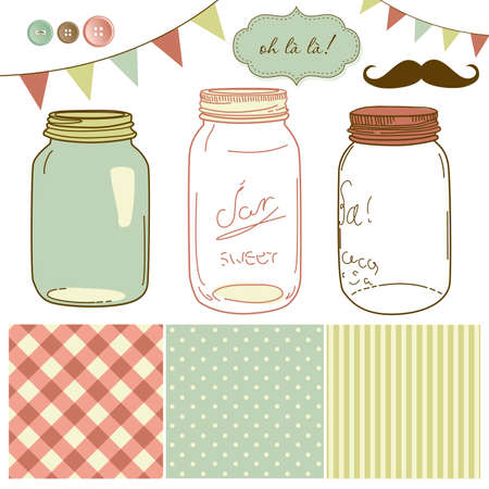 Glass Jars, frames and cute seamless backgrounds. Ideal for wedding invitations. Vector