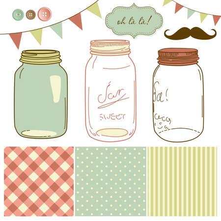 bocaux en verre: Les pots en verre, des cadres et mignons milieux continus. Id�al pour des invitations de mariage.