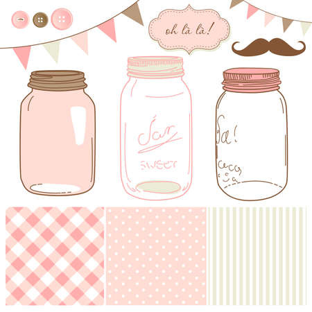 homemade style: Glass Jars, frames and cute seamless backgrounds. Ideal for wedding invitations.  Illustration