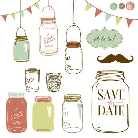 jarra: Frascos de vidrio, marcos y fondos lindos sin costura. Ideal para las invitaciones de la boda y la fecha invitaciones