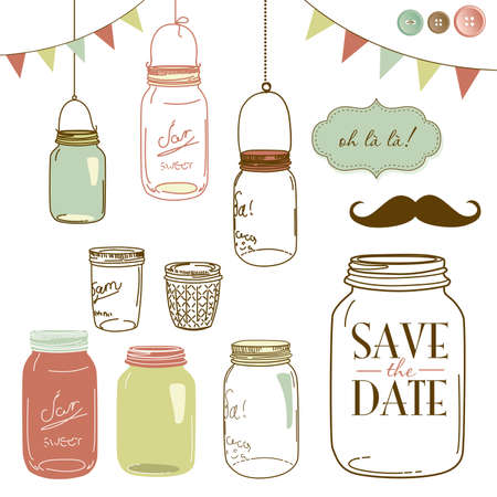 chic woman: Glass Jars, frames and cute seamless backgrounds. Ideal for wedding invitations and Save the Date invitations Illustration