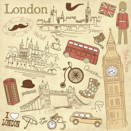 london big ben: Vintage Лондоне каракулей