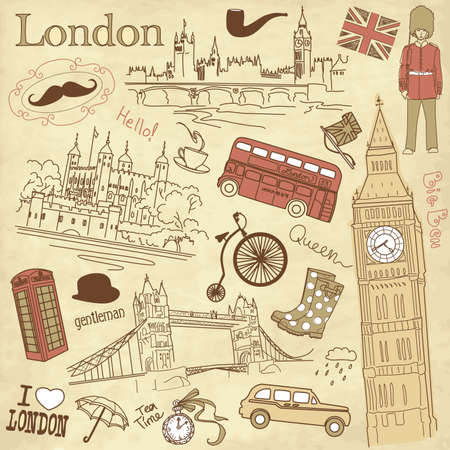 Vintage London doodles Vector