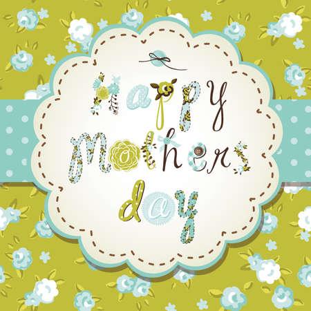 vintage postcard: Template frame design for a Mothers Day card  Illustration