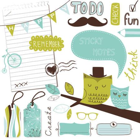 Cute scrapbook elements, sticky notes Illustration