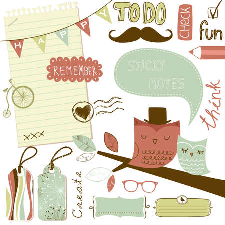 Cute scrapbook elements, sticky notes Stock Vector - 14255103