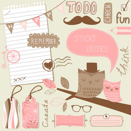 Cute scrapbook elements, sticky notes Çizim