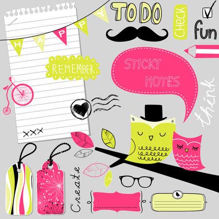 Cute scrapbook elementen, sticky notes