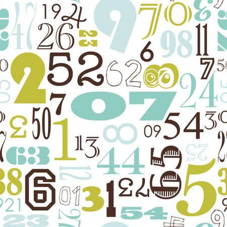 レトロなビンテージ スタイルのシームレスな数字の背景