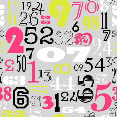 Seamless Numbers background in retro vintage style  Vector