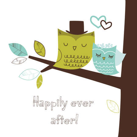 Two cute owls on the tree branch, Romantic Wedding Card  Vector