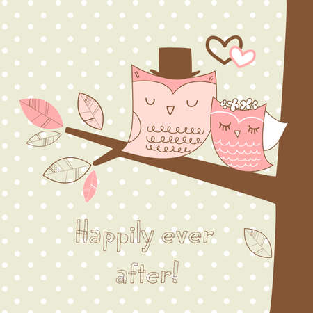 Two cute owls on the tree branch, Romantic Wedding Card Stock Vector - 14255041
