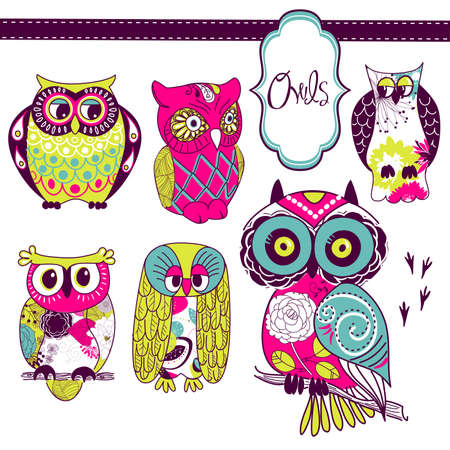 Collection of six different owls Illustration