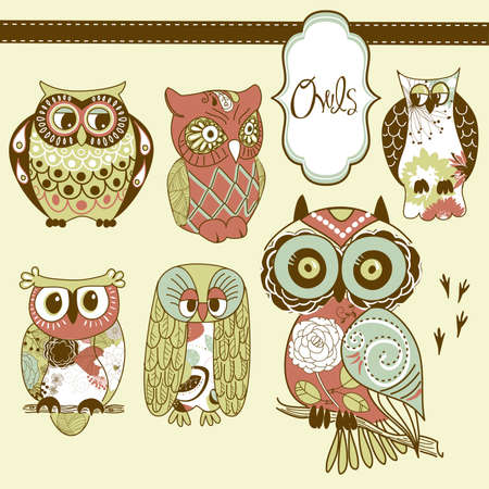 night owl: Collection of six different owls
