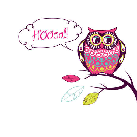 owl cartoon: Cute Vector Owl. Hoooot card  Illustration