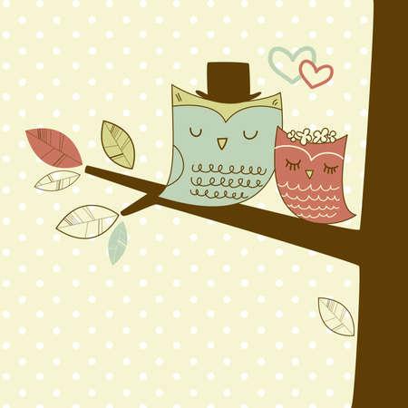 Dos búhos lindos en la rama del árbol, tarjeta romántica de la boda Foto de archivo - 14255022