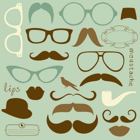 Retro Party set - Sunglasses, lips, mustaches  Vettoriali