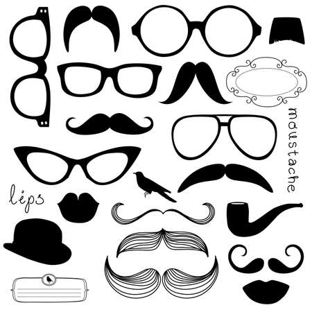 Retro Party set - Sunglasses, lips, mustaches  Vector