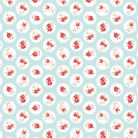 Beautiful Seamless rose pattern with blue background, vector illustration   イラスト・ベクター素材