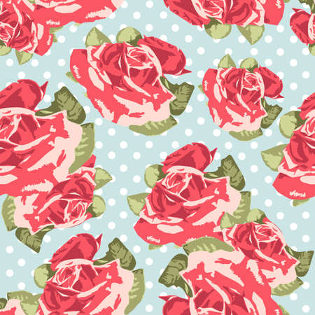 pink rose petals: Beautiful Seamless rose pattern with blue polka dot background, vector illustration
