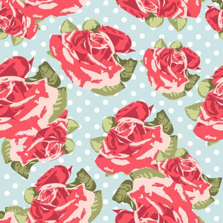 rose: Padr�o de rosa sem emenda bonito com azul polka dot fundo, ilustra��o vetorial