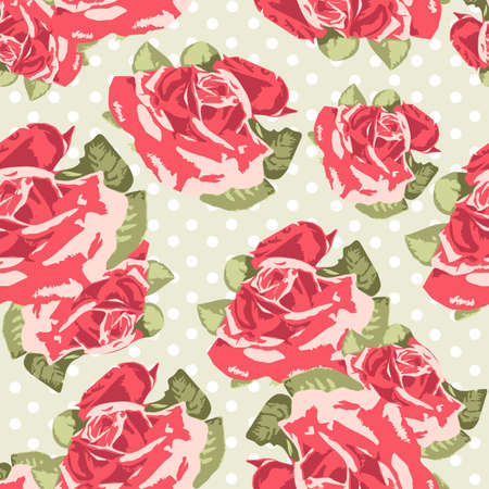 Beautiful Seamless rose pattern with blue polka dot background, vector illustration Vector