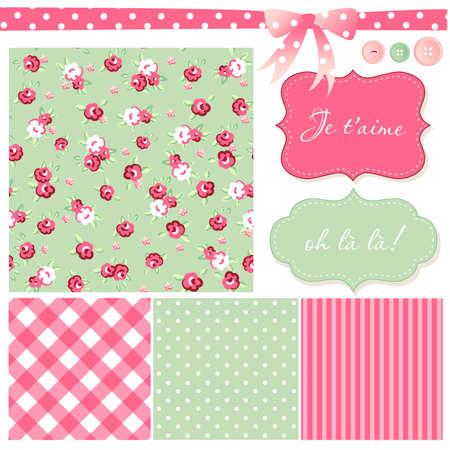 Vintage Rose Patroon, frames en leuke naadloze achtergronden. Ideaal voor het printen op doek en papier of schroot boeking. Stock Illustratie