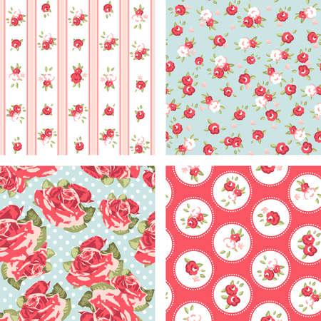 Shabby Chic set, 4 Vintage roos patronen. Naadloze vector. Rose behang