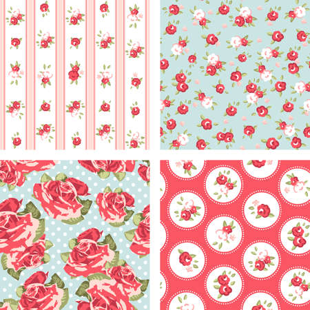 Shabby Chic set, 4 Vintage rose patterns  Seamless Rose wallpaper  Vector