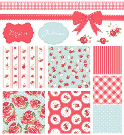 Vintage Rose Patroon, frames en leuke naadloze achtergronden. Ideaal voor het printen op doek en papier of schroot boeking. Stockfoto - 14255154