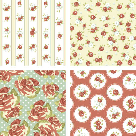Shabby Chic set, 4 Vintage rose patterns  Seamless Rose wallpaper  イラスト・ベクター素材