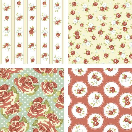 Conjunto Shabby Chic, 4 patrones aumentó la cosecha. Seamless vector. Rose papel tapiz Foto de archivo - 14255156