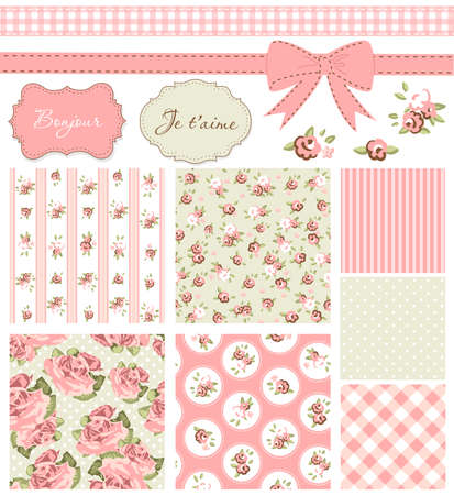 vintage: Vintage Rose Pattern, frames and cute seamless backgrounds. Ideal for printing onto fabric and paper or scrap booking.