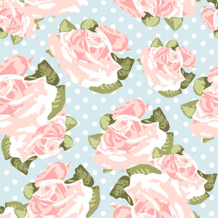 roses pattern: Beautiful Seamless rose pattern with blue polka dot background, vector illustration