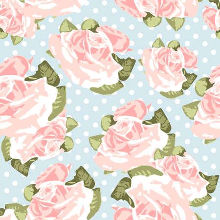 róża: Piękny Bezproblemowa wzór róża z niebieskim tłem polka dot, ilustracji wektorowych
