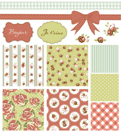kitsch: Vintage Rose Pattern, frames and cute seamless backgrounds. Ideal for printing onto fabric and paper or scrap booking.