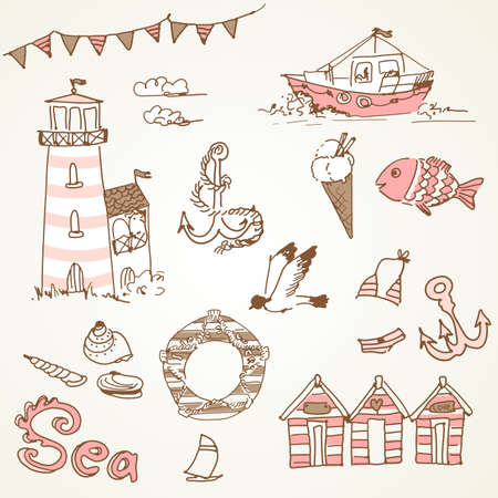 swim wear: Sea doodles