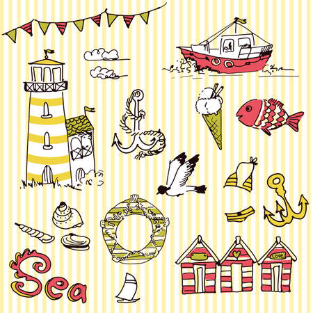Sea doodles Vettoriali