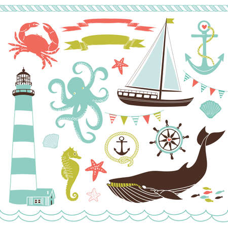 coral bell: Decorative Nautical and Sea Set,maritime illustrations  Illustration