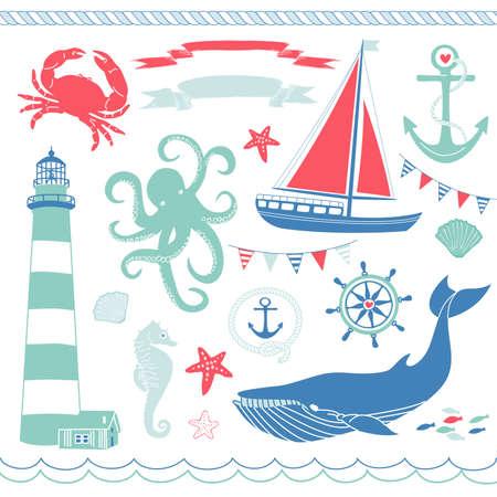 Decorative Nautical and Sea Set,maritime illustrations