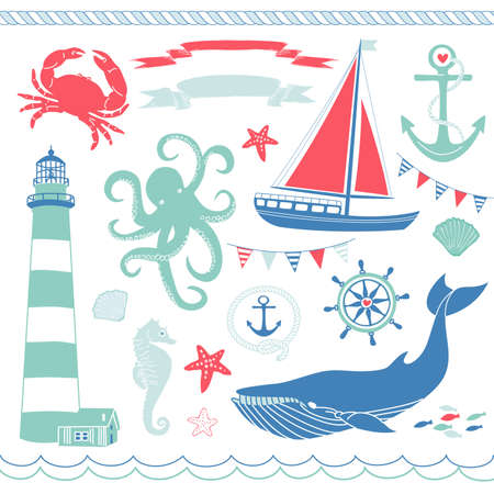 Decorative Nautical and Sea Set,maritime illustrations Stock Vector - 14255094