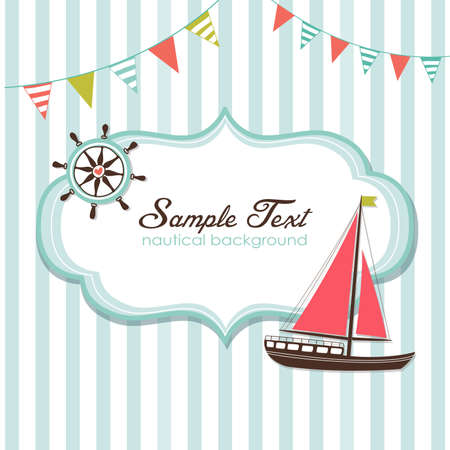 Summer is here! Nautical card  Vector