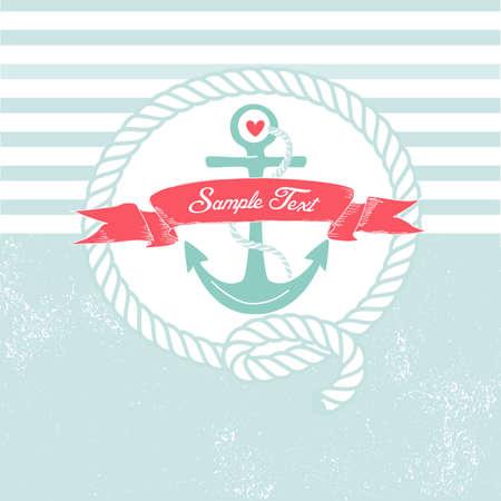 Antecedentes linda con el ancla marina, cuerda, la bandera y el corazón de un Ilustración de vector