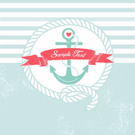 nautical vessel: Cute Nautical Background with anchor, rope, flag and a heart